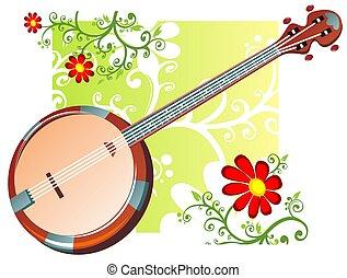 banjo, flores, patrón