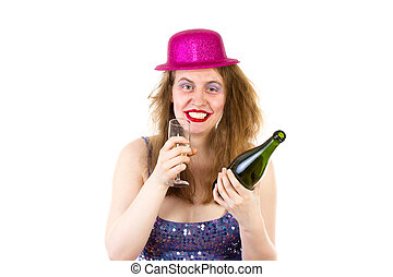 Young woman drinking too much alcohol at the party