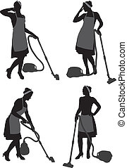 Cleaning Lady With Vacuum Cleaner - Cleaning Lady Housewife...