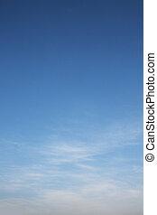 dramático, azul, cielo, blanco, nubes
