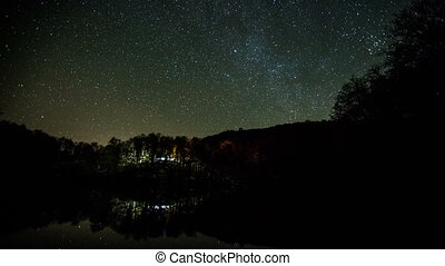 milky way moving across the night sky and reflection on the...