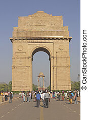 India Gate - Crowds of around India Gate Memorial to Indian...
