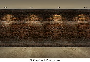 old brick wall with concrete floor at night,3d