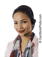 Asian girl working as customer service representative -...