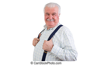 Jovial confident elderly man with a moustache and his hands...