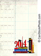 school books for 2014 graduation - Stack of school books for...