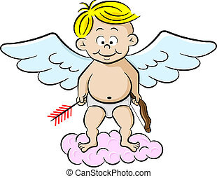 cupid with bow and arrow - vector illustration of a cupid...
