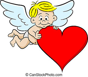 cupid with heart - vector illustration of a cupid with heart