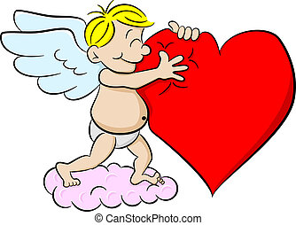 cupid hugging a heart - vector illustration of a cupid...