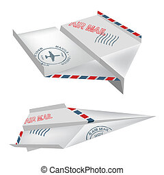 Origami air mail airplanes - Origami airplanes with post...