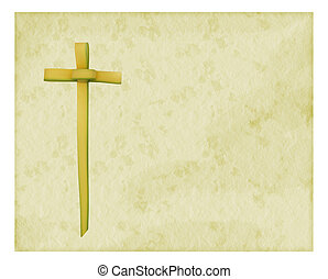 Easter Palm Sunday background - torn edge paper effect -...