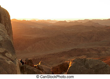 Sinai mountains in early morning - Panorama of holy ground...