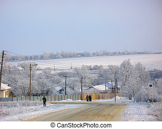 Snowy winter landscape in a countryside
