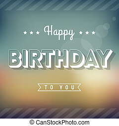 Happy Birthday Greeting Card - Vintage Style Typography