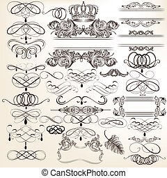 Collection of vector vintage decor - Vector set of...