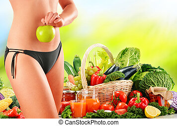 Dieting Balanced diet based on raw organic vegetables