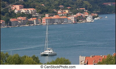 Sea, catamaran - Suburb of Kotor, sea, catamaran