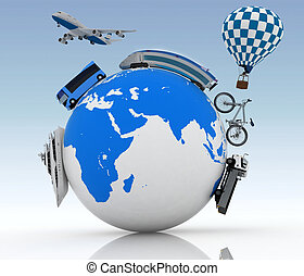 Types of transport on a globe - Types of transport on a...