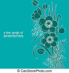 a few sprigs of anemones on turquoise background