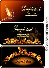 Set of Fire Flame Banner. - Illustration of set of fire...
