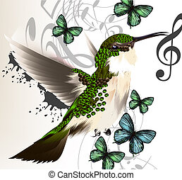 Vector illustration with realistic humming bird and notes...