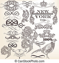 Vector set of decorative vintage el - Vector set of...