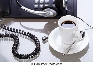 生活方式, 事務, 辦公室,  Coffe, 毀坏, 有, 書桌