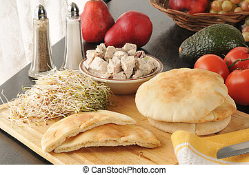 Chicken pita pockets - Pita pockets with chicken salad,...