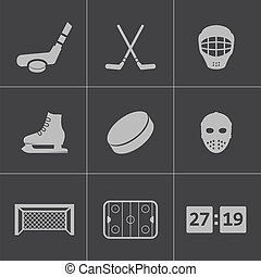 Vector black hockey icons set on gray background