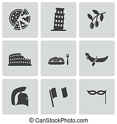 Vector black italian icons set on white background