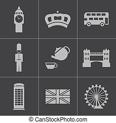 Vector black london icons set on gray background