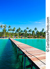 Tropical Resort. boardwalk on beach - Tropical Resort....
