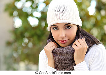 Facial portrait of a beautiful arab woman outdoor