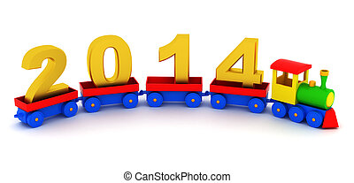2014 new year - The toy locomotive transports 2014 new year