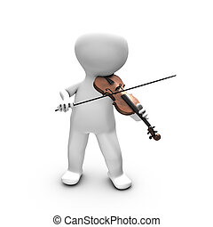 A 3D person enjoying playing violin. - This illustration...
