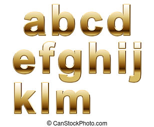 Shiny Gold Lower Case on White A-M. 3d render