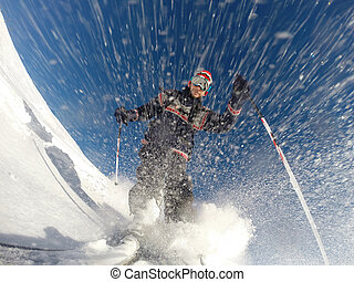 Downhill alpine skiing at high speed on powder snow.