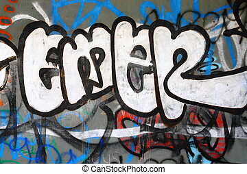 graffiti on a concrete wall; street art by unidentified...