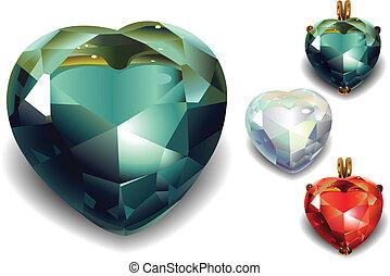 Set of Shiny Valentines Diamond Hearts. - Set of shiny...