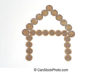 Euro Coins House Real Estate Concept