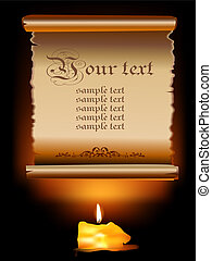 Illustration of Old Paper Scroll With Candle - Illustration...