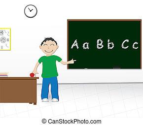 school boy chalkboard - cartoon illustration of a boy at...