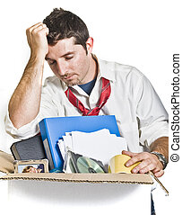 Young Man Fired from Job - Desperate Man with Cardboard Box...