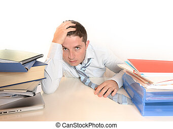 Overwhelmed Stressed student or Businessman with necktie and...