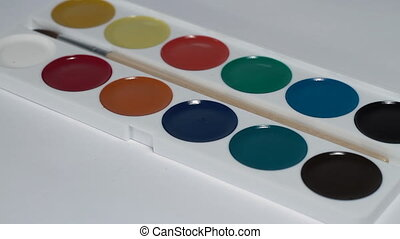 Water-colour paints turning close up