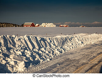 snowbank - Fresh white snow in a rural area of prince edward...