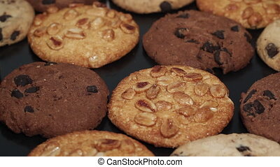 Mixed coockies turning close up