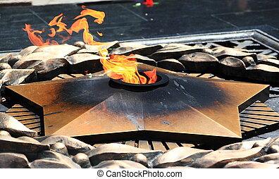 Eternal fire in Almaty - ALMATY, KAZAKHSTAN - June 26, 2010:...