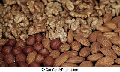 Mixed Nuts turning close up