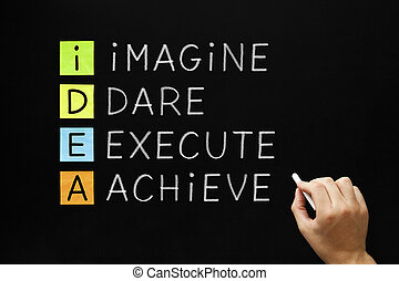 IDEA - Imagine Dare Execute Achieve - Hand writing IDEA -...